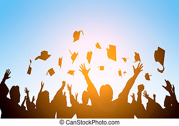 happy students throwing graduation caps in the Air