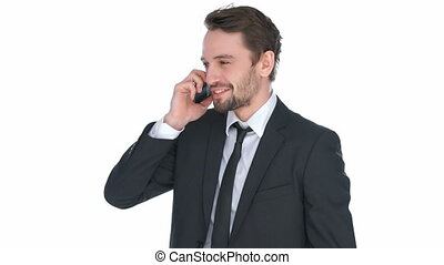 Happy stylish businessman chatting on his mobile