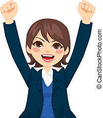Cute brunette businesswoman raising arms up expressing happy successful positive emotion
