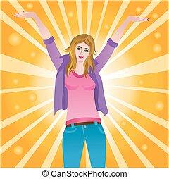 Happy successful joyful woman - Vector illustration of a...