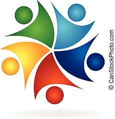 Happy successful teamwork logo
