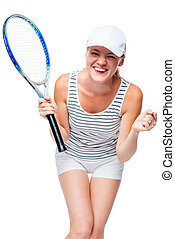 Happy successful tennis player on white background rejoices in victory