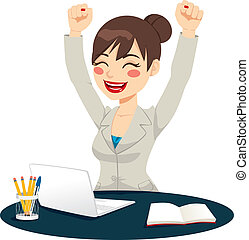 Beautiful happy successful woman celebrating raising arms up expressing joy