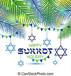 Happy Sukkot Holiday. Jewish Holiday Sukkot. Jewish new year. Autumn Fest. Palm tree leaves frame.