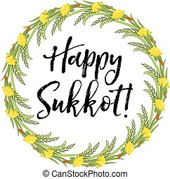 Greeting card happy sukkot with sukkah template for a poster flyer happy sukkot round frame of herbs jewish holiday huts template for greeting card with etrog m4hsunfo