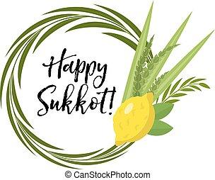 Happy Sukkot round frame of herbs. Jewish holiday huts...