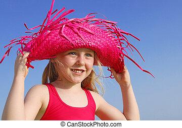 happy summer child in sunhat
