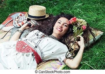 happy summer girl
