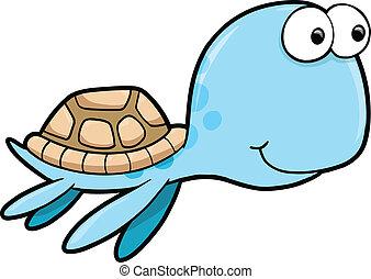 Happy Summer Sea Turtle Animal Vect
