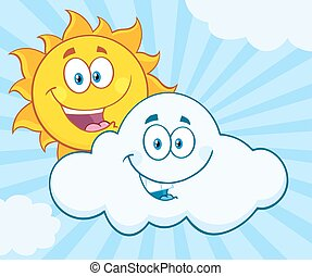 Happy Summer Sun And Smiling Cloud