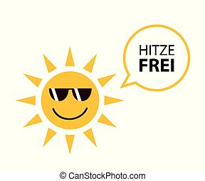 happy summer sun with sungasses and german text heat free