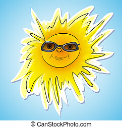 Happy summer sun with sunglasses