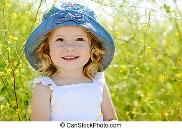 happy summer toddler - happy toddler girl in rape field
