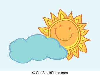 Happy Sun Behind Cloud Cartoon Vector Illustration