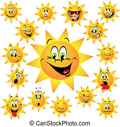happy sun with many expressions