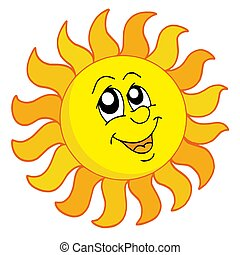 Happy Sun on white background - isolated illustration.