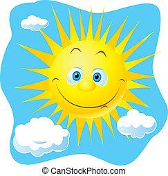 happy sun on blue sky