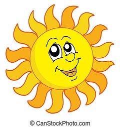 Happy Sun on white background - isolated illustration.