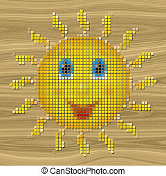 Happy sun pixelated image generated texture