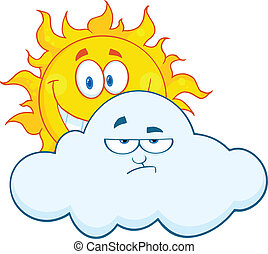 Sun Smiling Behind A Sad Cloud - Happy Sun Smiling Behind A...