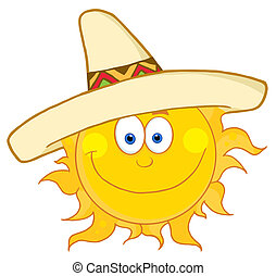 Happy Sun Wearing A Sombrero