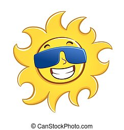 Cool sun wearing shades. Smiling sun with sunglasses.