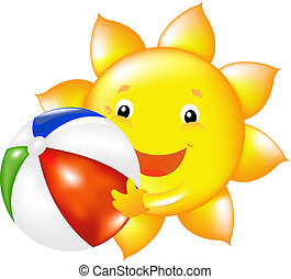 Sun With Beach Ball - Happy Sun With Beach Ball, Vector...