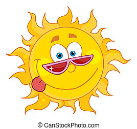 Happy Sun With Shades - Goofy Sun Wearing Shades And ...