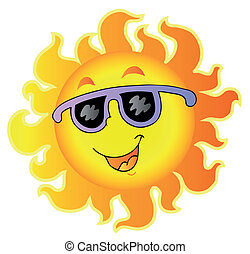 Happy Sun with sunglasses - vector illustration.