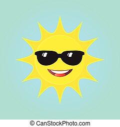 Happy Sun with sunglasses icon