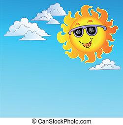 Happy Sun with sunglasses on sky