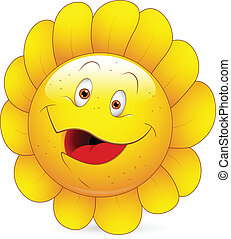 Happy Sunflower Smiley Face - Creative Abstract Conceptual...