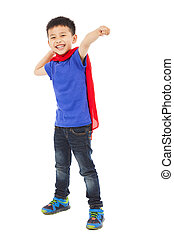 happy superhero kid make a fighting  pose