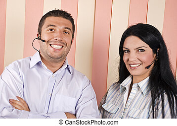 Happy support operator team - Happy smiling support operator...
