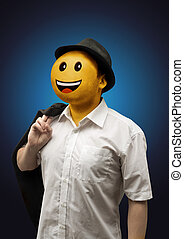 Happy Surreal Businessman with a Smiling Face Emotion
