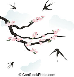 Happy swallows singing the spring, flying around floral...
