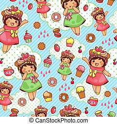 happy sweet pattern - seamless pattern with cute girls and...