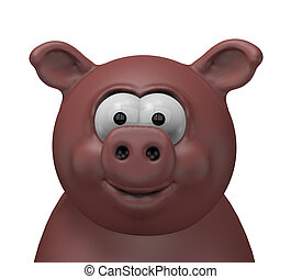swine - happy swine head - 3d cartoon illustration