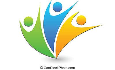 Happy swooshes logo - Vector of people social media icon...