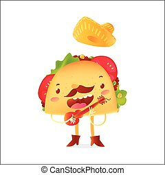 Happy taco character in sombrero singing and playing Mexican guitar