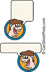 Happy talking man cartoon illustration.