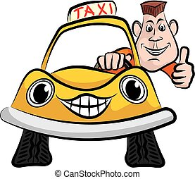 happy taxi driver - cheerful taxi driver in his yellow cab
