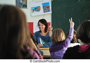 happy teacher in school classroom - happy young teacher ...