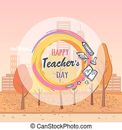 Happy Teacher s Day Wish Vector Illustration