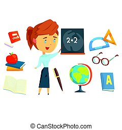 Happy teacher standing next to a blackboard, set for label design. Work in the school, stationery. Colorful cartoon detailed Illustrations