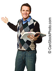 closeup image of caucasian standing teacher holding a book isolated on white