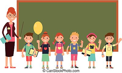 Happy teacher with kids in school. Teaching children vector background