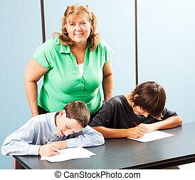 Happy Teacher with Students