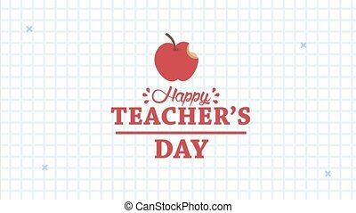 happy teachers day animation lettering with apple