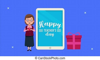 happy teachers day animation lettering with female teacher ...